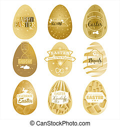 Happy Easter - A set of nine gold Easter egg labels on an...