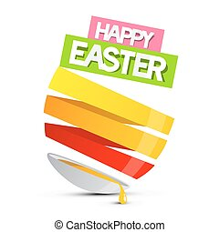 Happy Easter Abstract Egg with Spilt Yolk Vector Illustration Isolated on White Background
