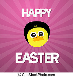 Happy Easter Abstract Pink Background with Funny Yellow Chicken