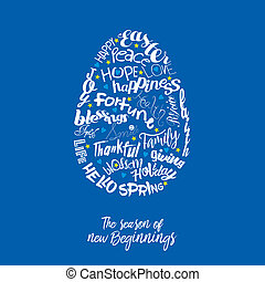 An abstract illustration of an Easter egg with typography on a blue background