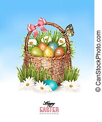 Happy Easter background. Basket with eggs and a butterfly against a blue sky. Vector.