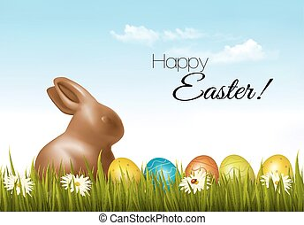Happy Easter background. Easter eggs and a chocolate bunny. Vector.