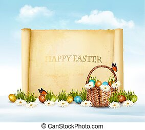 Happy Easter background. Easter eggs and old paper. Vector.