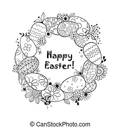 Happy Easter background.Frame made of eggs and doodled...