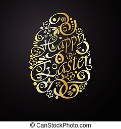 Happy Easter background gold and black