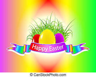 Happy Easter background - Three easter eggs on the grass...