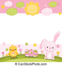 Happy Easter background with cartoon cute bunny and chicken