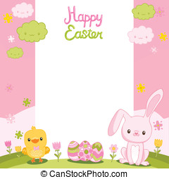 Happy Easter background with cartoon cute bunny, eggs and chicken