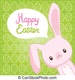 Happy Easter background with cartoon cute bunny