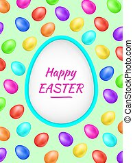Happy Easter background with colorful eggs and holiday greetings. Easter big hunt. Vector illustration perfect for creating collages, design of banners, decorating wishes, albums, greeting cards etc.