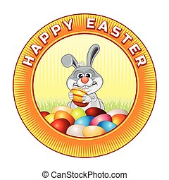 Happy Easter Badge. Ready for Text and Design.