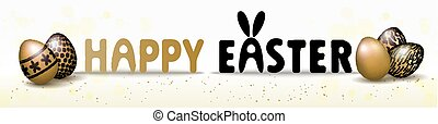 Happy Easter banner background template with beautiful realistic golden eggs. Vector illustration.
