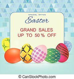 Happy Easter banner background with colorful decorated eggs, vector illustration eps10