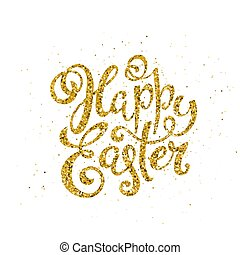 Happy Easter banner with handdrawn calligraphy. Template for poster with letttering. Vector.