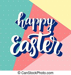 Happy Easter banner with modern memphis style