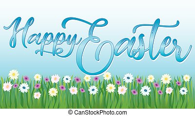 Happy Easter Banner with Spring Daisies