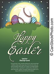 Happy Easter. Baseball ball in the form of egg