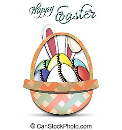 Happy Easter. Baseball balls in the form of eggs