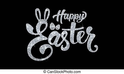 Happy Easter Blinking Text Wishes Particles Greetings, Invitation, Celebration Background