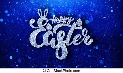 Happy Easter Blue Text Wishes Particles Greetings, Invitation, Celebration Background