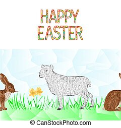Happy easter border seamless background easter lamb and hare...