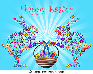 Happy Easter Bunnies Holding Basket of Floral Eggs