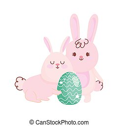 happy easter bunnies with green egg decoration cartoon