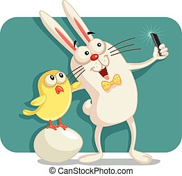 Happy Easter Bunny and Chick Taking a Selfie Together -...