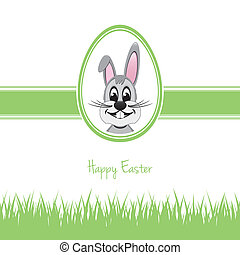 happy easter bunny egg grass green