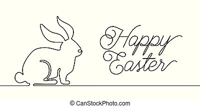Happy Easter bunny greeting card in simple one line style with text celebration word sign. Rabbit vector illustration. Black and white minimal concept