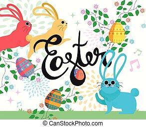 Happy Easter bunny illustration in spring season