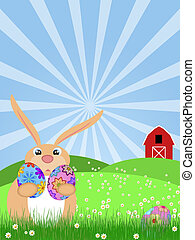 Happy Easter Bunny on Green Pasture