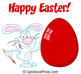 Happy Easter Bunny Painting A Egg