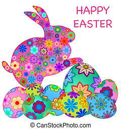 Happy Easter Bunny Rabbit with Colorful Eggs - Happy Easter...