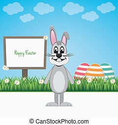happy easter bunny sign board colorful eggs