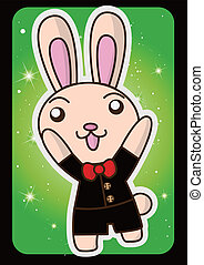 Happy Easter bunny to raise a hands