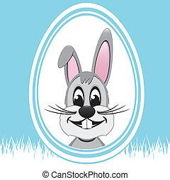 happy easter bunny white egg