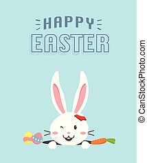 Happy Easter bunny with carrot, white bunny
