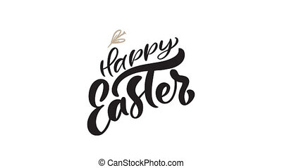 Happy Easter calligraphy animation greeting card with two branches of leaves frame. Christian text about resurrection of Jesus Christ. Full HD video footage