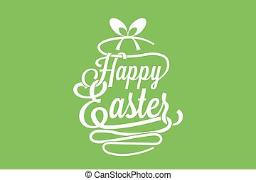 Angels eggs ribbon and words happy easter easter themed vector happy easter calligraphy vector happy easter greeting card with calligraphic words m4hsunfo