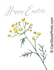 Happy Easter card design with hand lettering text and flowers, branches and textured eggs.