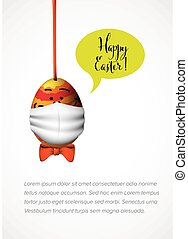 Happy Easter card - Funny egg with mask against coronavirus