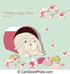 Happy Easter card Illustration with bunny rabbit