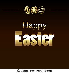 Happy easter card in golden style, vector art illustration.
