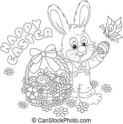 Happy Easter card - Little bunny with a happy Easter...
