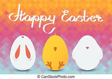 Happy Easter card. Set of Easter egg