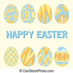 Happy Easter card template with blue and yellow eggs