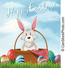 Happy Easter card template with bunny and eggs