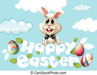 Happy Easter card template with bunny and eggs in the sky