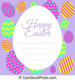 Happy Easter card template with colorful eggs